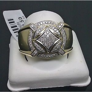 SOLID GOLD REAL DIAMOND MENS RING SIZE 10 NEW